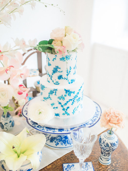 Blue and White Porcelain Cake Stand