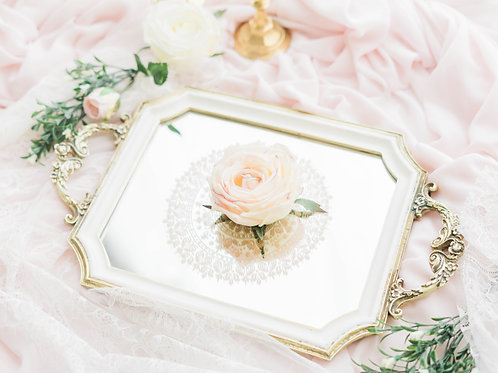 White and Gold Colour Vintage Mirror Tray