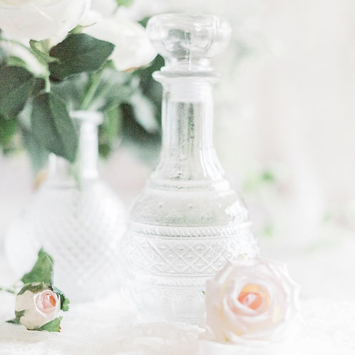 Vintage Glass Bottle with Pressed Pattern
