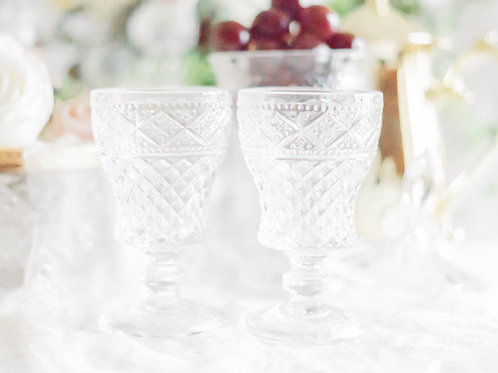 Vintage Crystal Glass with Pressed Pattern