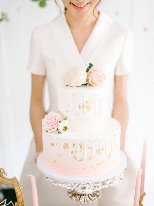 Pink Blush Colour 2-tier Dummy Cake
