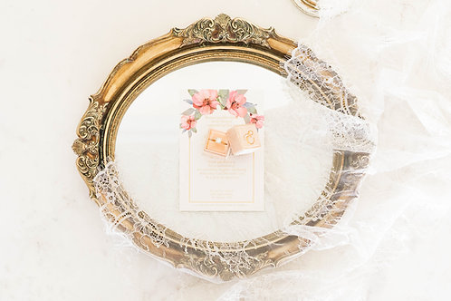 Round Vintage Mirror Tray