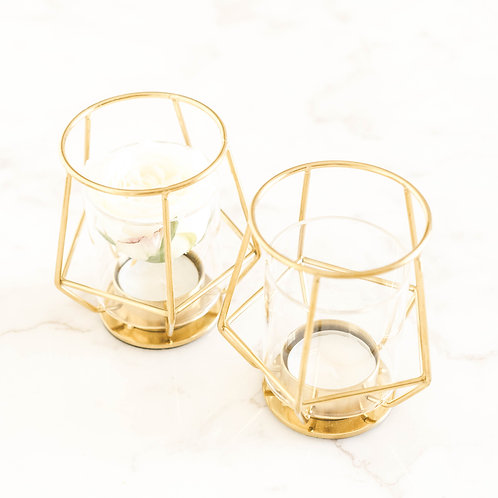 Boho style Brass Candle Holder Set