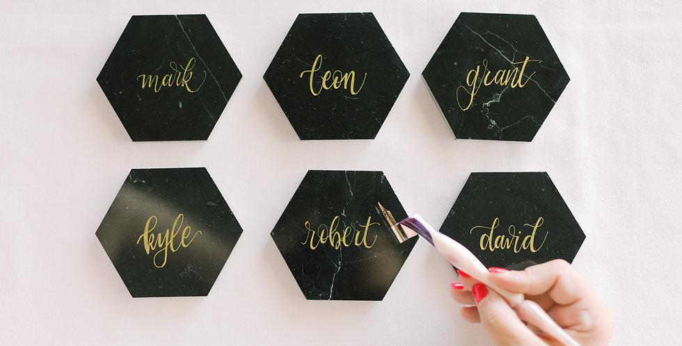 Black Hexagon Italian Marble Coaster