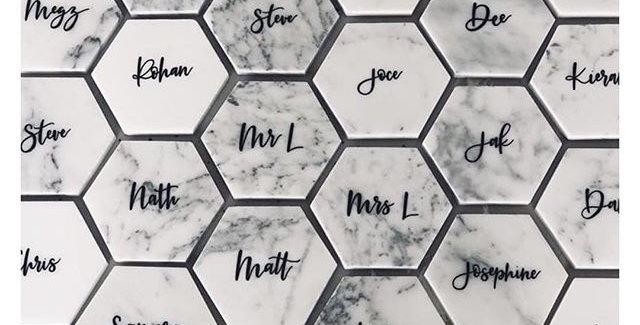 White Hexagon Italian Marble Coaster