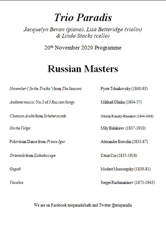 November 2020 Russian Masters MsN progra