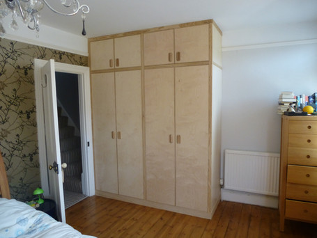 Wardrobe in Birch ply and Ash