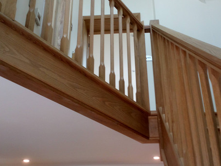 Oak staircase with custom spindles