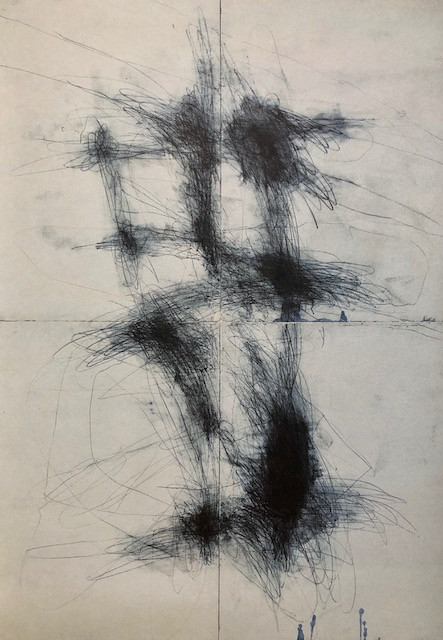Arie de Groot: Verkennen der Lagen (1994), drawing on paper 210cm  x  300cm