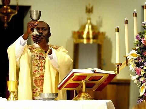 Catholic priest saying mass
