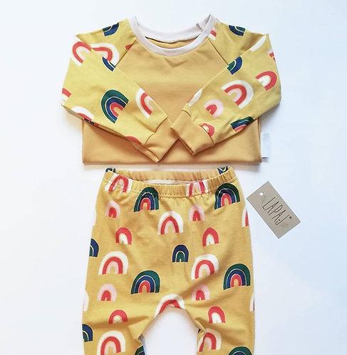 Tričko s dlhým rukávom lapaj žlté dúhy