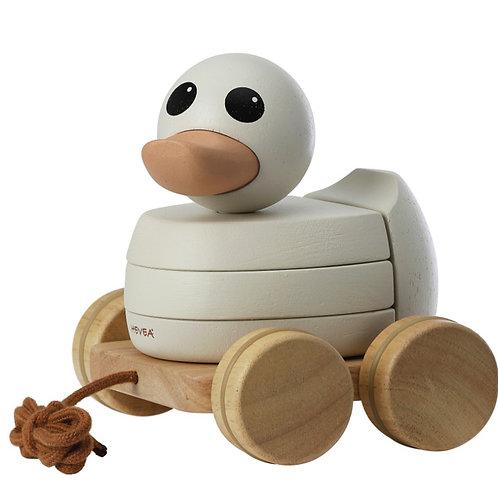 HEVEA Stohovacia drevená kačička na ťahanie