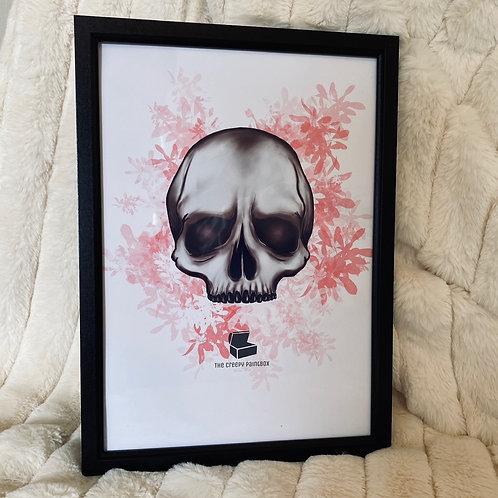 Pink Floral Half-Skull