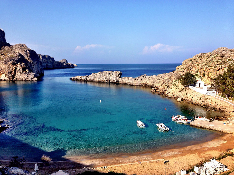 a beach in Rhodes, Greece