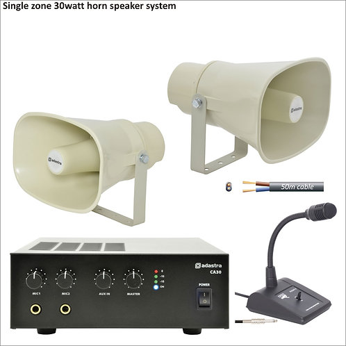 30 Watt single zone PA package with horn speakers