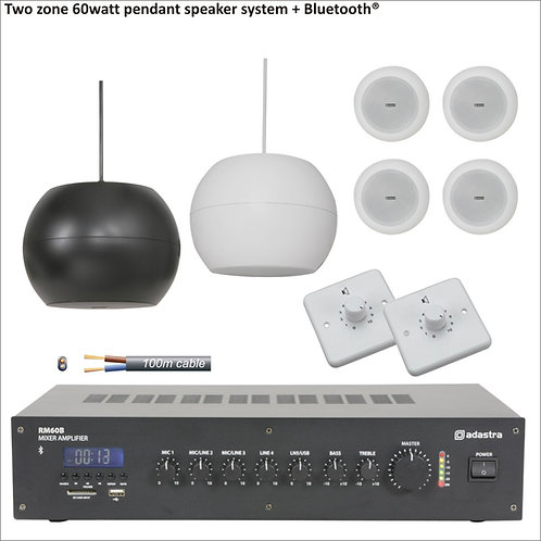 60 Watt Two zone PA package with pendant speakers