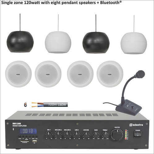 120watt Single zone PA system with eight pendant speakers + Bluetooth®