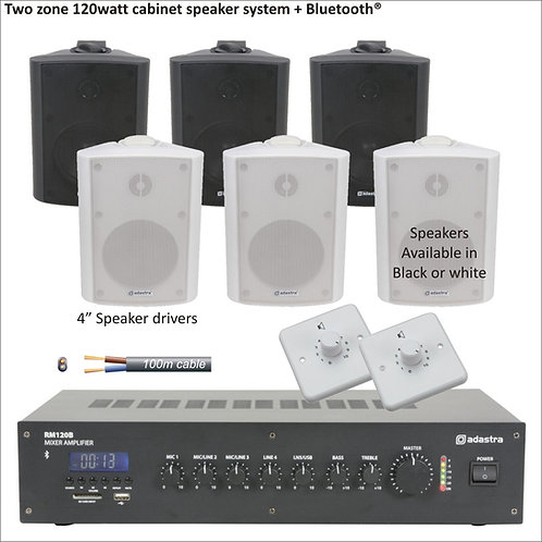"120 Watt Two zone PA package with standard 4"" cabinet speakers"