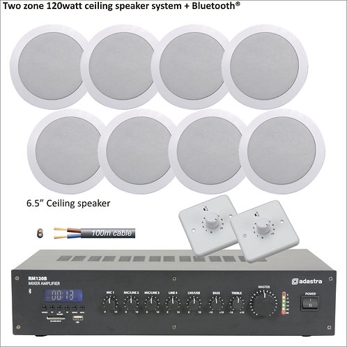 "120 Watt Two zone PA package with eight 6.5"" ceiling speakers"