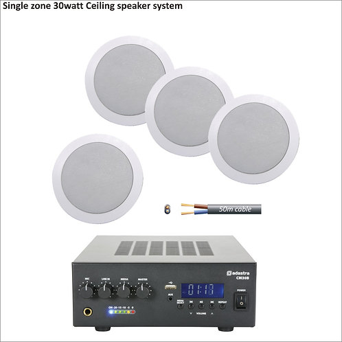 30 watt single zone PA package with four ceiling speakers