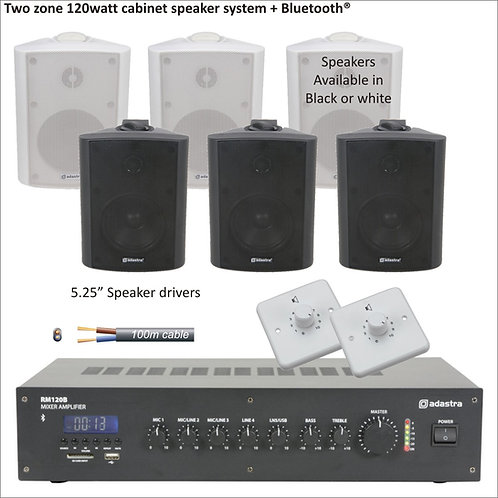 "120 Watt Two zone PA package with standard 5.25"" cabinet speakers"