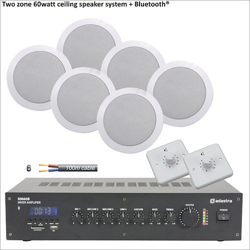 60 Watt Two zone PA package with ceiling  speakers