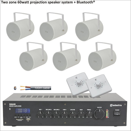 60 Watt Two zone PA package with projection speakers