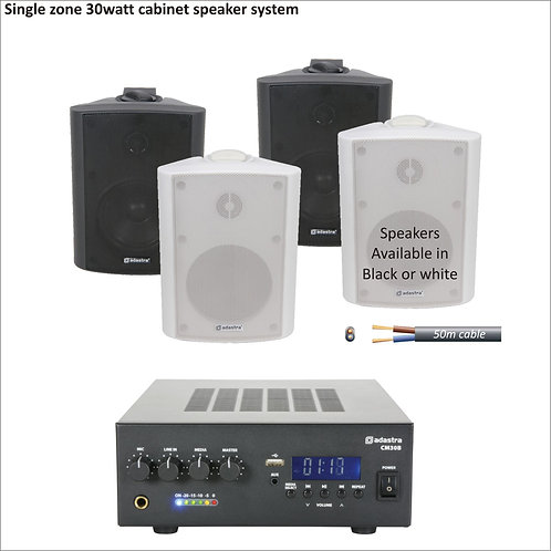 30 watt single zone PA package with four cabinet speakers