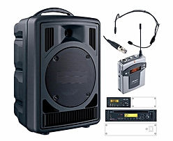 Portable PA system with vari speed CD & radio microphone