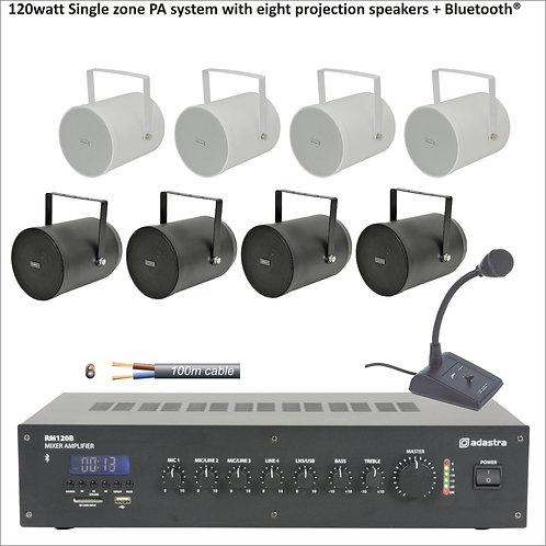 120watt Single zone PA system with eight projection speakers + Bluetooth®