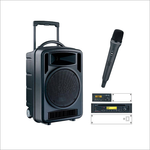 100w Portable Music & PA System with Handheld Microphone
