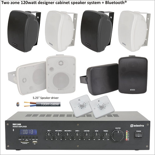 """120 Watt Two zone PA package with eight designer 5.25"""" cabinet speakers"""