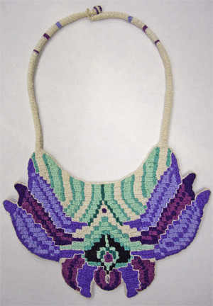 Crocheted, embroidered neckpiece, side a