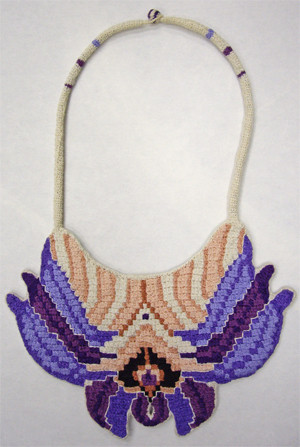 Crocheted, embroidered reversible neckpiece, side b