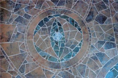 Mosaic floor further down hallway