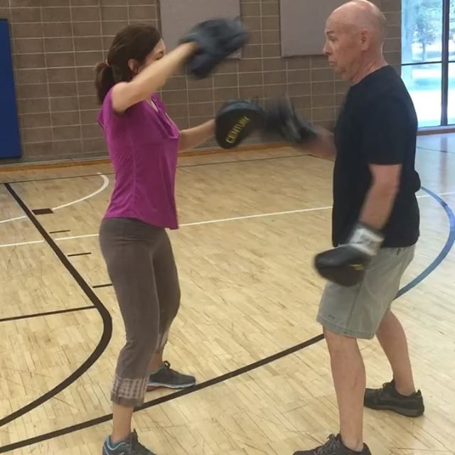 Bob fights PD by boxing hard with Marie in New Britain class! Go Bob!