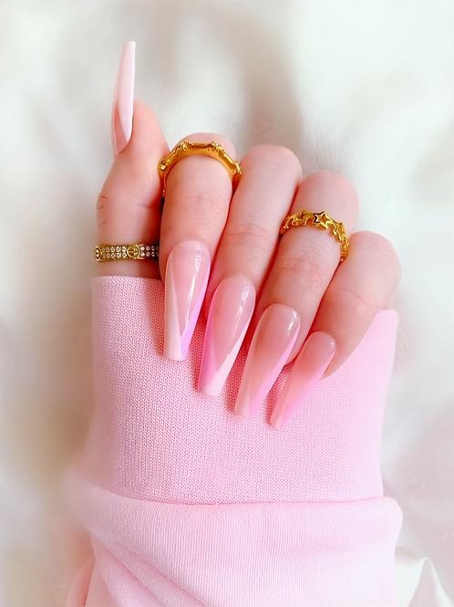 Split pink v tips
