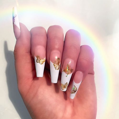 Gold butterfly French tips
