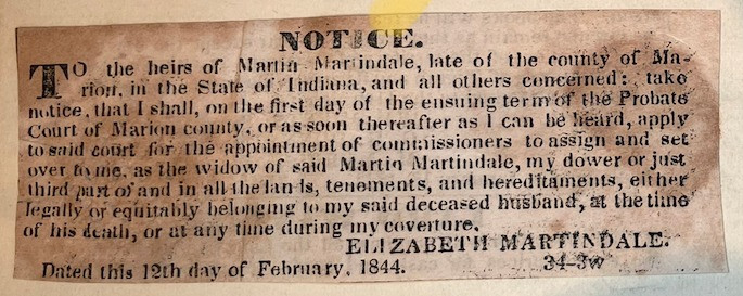 Indiana Sentinel notice of dower #indyturns200 Indianapolis bicentennial