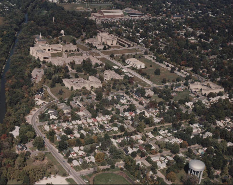 Butler University aerial photo campus water tank Butler Tarkington