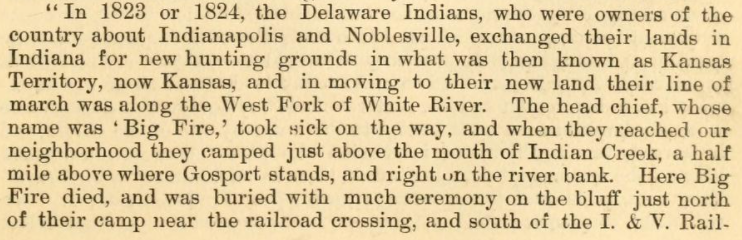 Delaware Indians Indianapolis history pigeon roost massacre