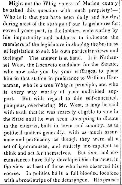 Indianapolis history newspaper Nathaniel West