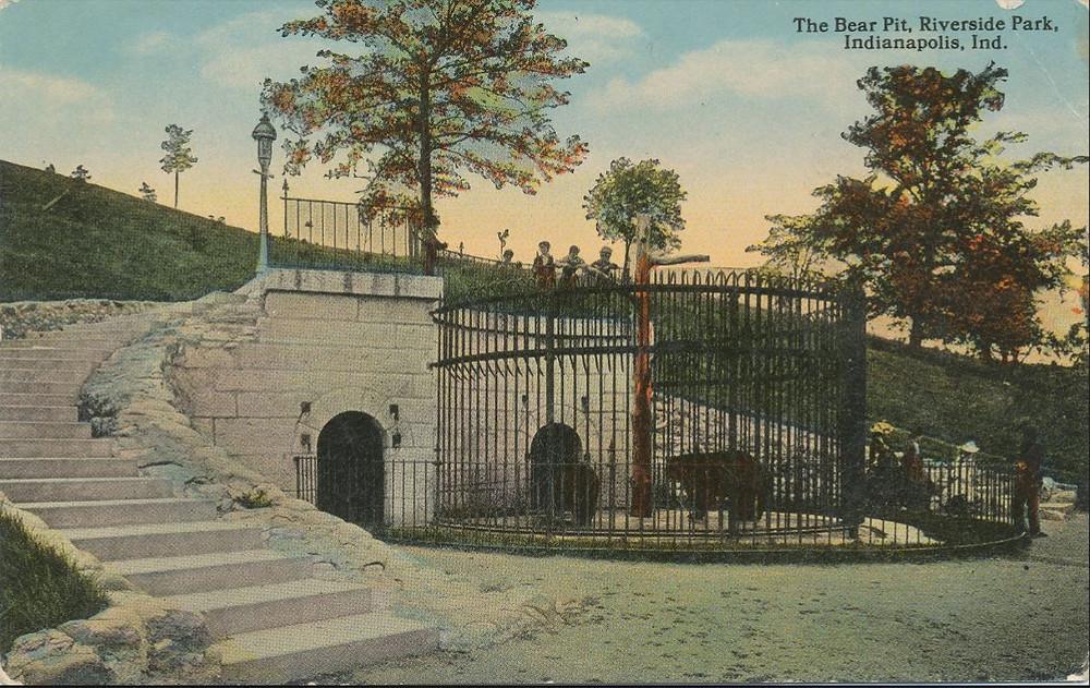 Riverside park bear pit Indianapolis postcard #indyturns200 Indianapolis bicentennial