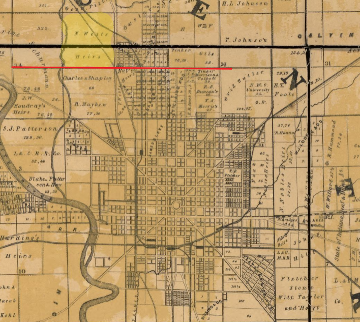 Indianapolis history map 1855 Condit
