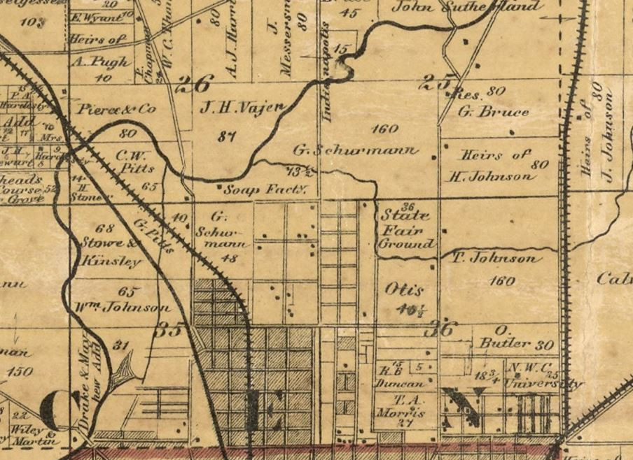 1866 Indianapolis history map