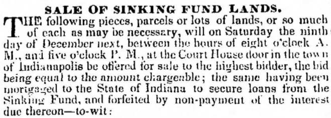 Indiana sinking fund Indianapolis History