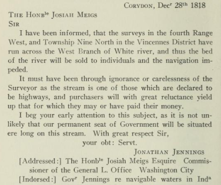 Indianapolis history Jonathan Jennings