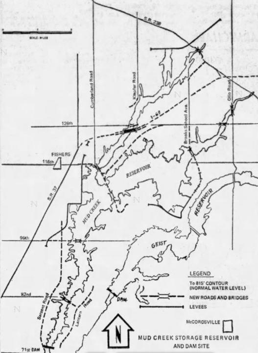 Mud Creek Geist Reservoir map Indianapolis