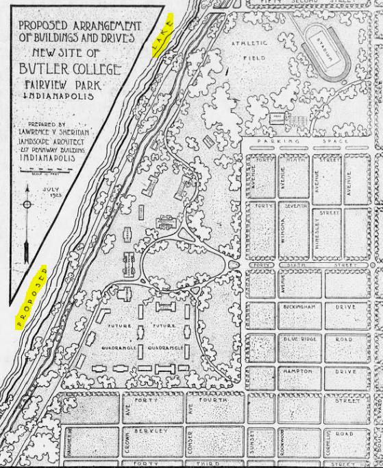 Butler University Indianapolis history white river lake