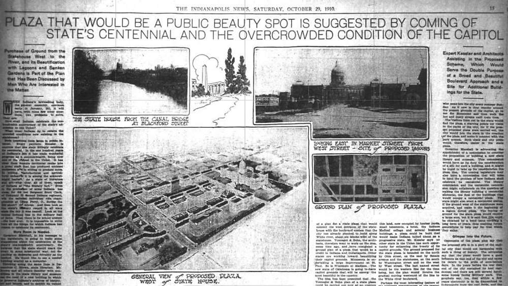 Indianapolis Indiana centennial plaza plan park rendering #indyturns200